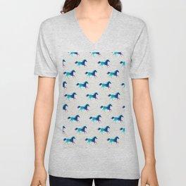 blue horse pattern Unisex V-Neck