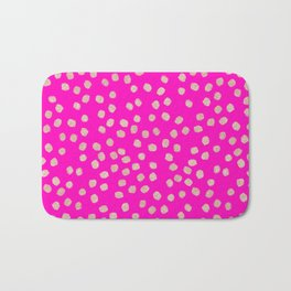 Modern rose gold glitter polka dots neon pink attern Bath Mat