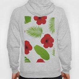 Red hibiscus and palm leaves seamless pattern. Hoody
