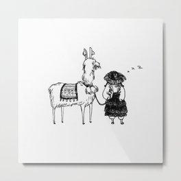 Llamas and Peruvian Ladies Metal Print