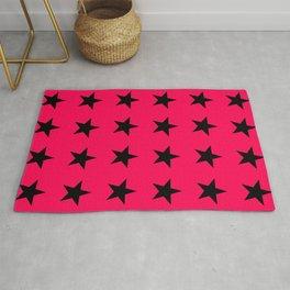 Black Stars on Pink Rug