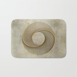 Geometrical Line Art Circle Distressed Gold Bath Mat