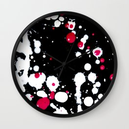 Neon Pink and White Paint Splats and Spots on Black Wall Clock
