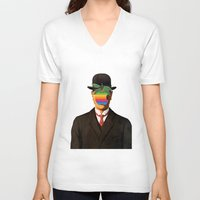 magritte V-neck T-shirts featuring Son of Apple Parody René Magritte by eatpersonality