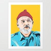 steve zissou Art Prints featuring Steve Zissou by Jeroen van de Ruit