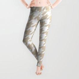 Houndstooth: Beige & White Checkered Design Leggings