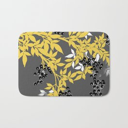 TREE BRANCHES YELLOW GRAY  AND BLACK LEAVES AND BERRIES Bath Mat