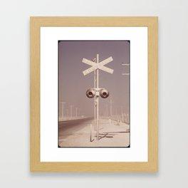 White dust on railroad crossing Framed Art Print