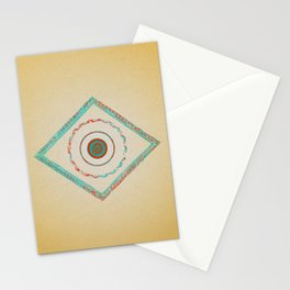 Pata Patterns in Blue & Orange on Mustard Stationery Cards