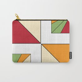 Geo Graphic Offset White Carry-All Pouch