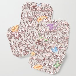 Seamless pattern world crowded with funny cats Coaster
