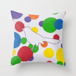 Bubble Bird Throw Pillow