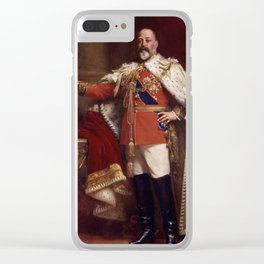 King Edward VII in coronation robes Clear iPhone Case