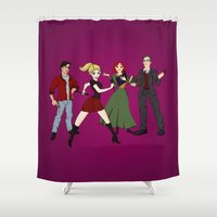 buffy Shower Curtains featuring Cartoony Buffy and the gang by Nana Leonti