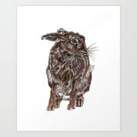 hare Art Prints featuring Hare by Meredith Mackworth-Praed