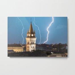 Lightning wall art, lightning church, lightning prints, storm wall art, messina stampa Metal Print