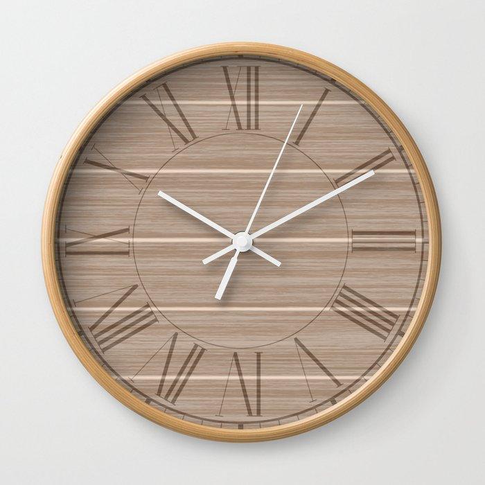 Light Hazelnut Brown Weathered Whitewash Wooden Beach Hut Wall Clock By Podartist