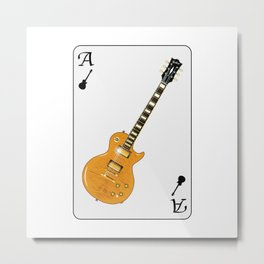 Guitar Playing Card Metal Print