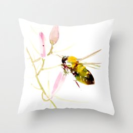 Bee and Pink Flowers Throw Pillow