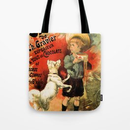 Vintage French hot chocolate advert, boy, white dog Tote Bag