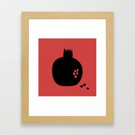 Black pomegranate and seeds Framed Art Print
