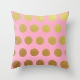 painted polka dots - pink and gold Throw Pillow