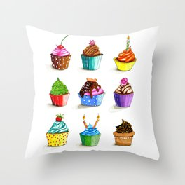 Illustration of tasty cupcakes Throw Pillow