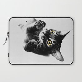 Cute Abyssinian cat  black and white Laptop Sleeve