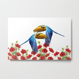 Flying macaw bird over poppies field Metal Print