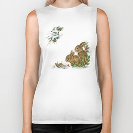 Winter in the forest - Animal Bunny Illustration Biker Tank