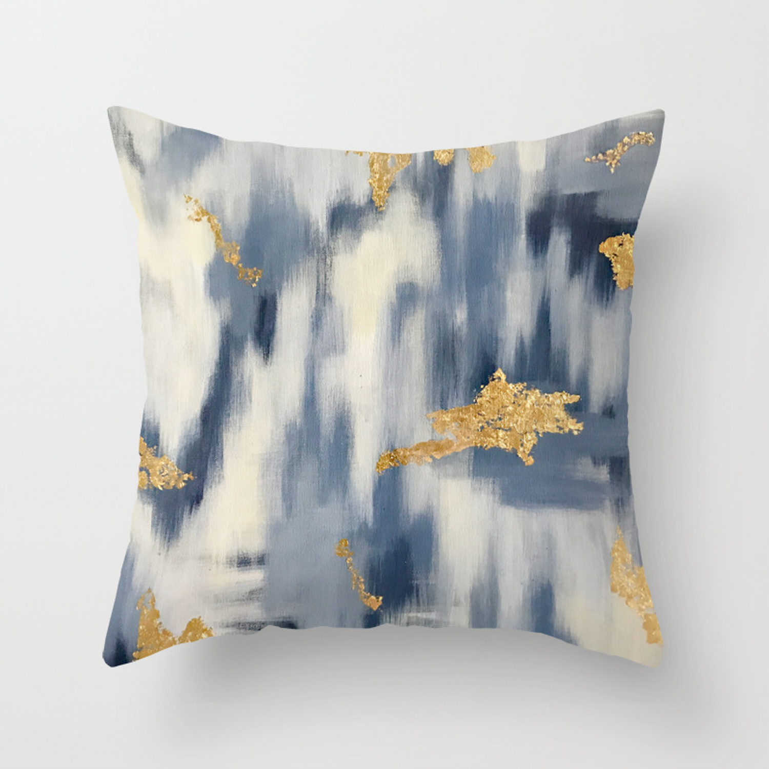 Blue And Gold Ikat Pattern Abstract Throw Pillow By Brushedinbold Society6