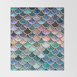 Multicolor Pink And Aqua Mermaid Scales - Beautiful Abstract Glitter Pattern Throw Blanket