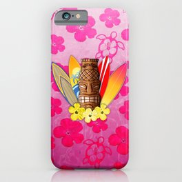 Surfboards And Tiki Mask Pink Flowers iPhone Case