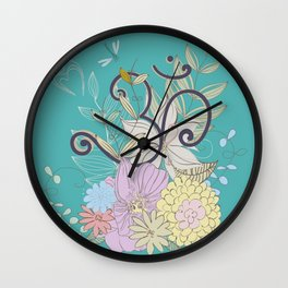 Bohemian Pastel Flower composition with  OM symbol Wall Clock