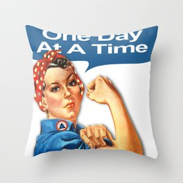 One Day At A Time AA NA Sober Sunrise Tee Tees T-Shirt Rosie The Riveter Throw Pillow