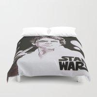 luke hemmings Duvet Covers featuring Luke Skywalker by Popp Art