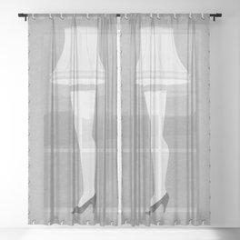 Leg Lamp Grey Sheer Curtain
