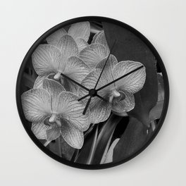 Orchids in Black & White Wall Clock