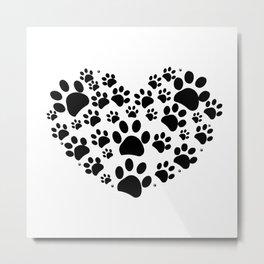 Dog paw print made of heart Metal Print