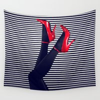 heels Wall Tapestries featuring Pinup Red High Heels by ML Studio