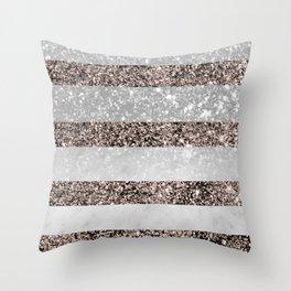 White Marble Rose Gold Glitter Stripe Glam #2 #minimal #decor #art #society6 Throw Pillow