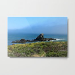 Rocks In The Sea At Pigeon Point Metal Print