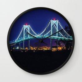 Newport Bridge, City Lights, Newport, Rhode Island landscape painting by Jeanpaul Ferro Wall Clock