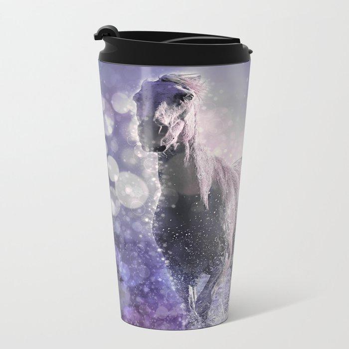 Blue Wild Horses Mixed Media Art Metal Travel Mug