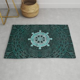 Dharma Wheel - Dharmachakra Silver and turquoise Rug