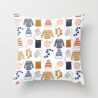knitting Throw Pillows featuring Knitting by Holly Dunn Design