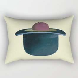 A single plum floating in perfume served in a man's hat. Rectangular Pillow