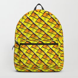 Cross square tile made of gold rhombuses with luminous gaps. Backpack