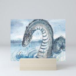 Sea Monster Water Dragon Watercolour Mini Art Print