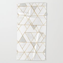 Mod Triangles Gold and white Beach Towel